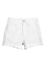 Frayed-hem denim shorts - White denim -  | H&M 2