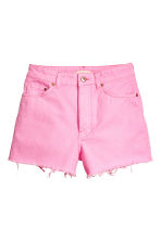 Frayed-hem denim shorts - Pink denim - Ladies | H&M CA 2