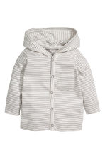Jersey hooded cardigan - Light grey/Striped - Kids | H&M CN 1