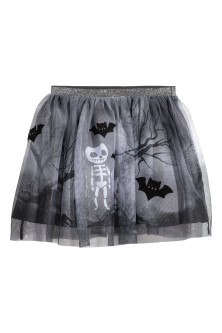 Tulle skirt with print motifs