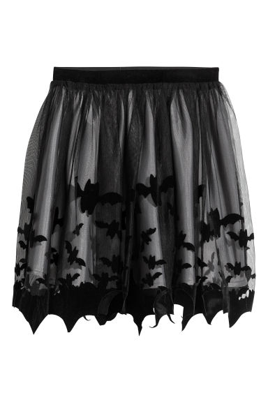 Printed tulle skirt - Black -  | H&M CN