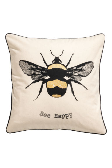 Cushion Cover with Motif - White/bee - Home All | H&M CA 1