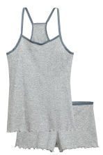 Pyjama top and shorts - Grey marl - Ladies | H&M CN 2