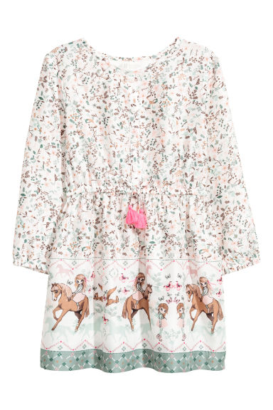 Patterned dress - Natural white/Horses - Kids | H&M