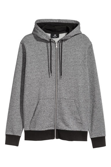 Sweat-shirt zippé Regular fit - Gris chiné/noir -  | H&M BE