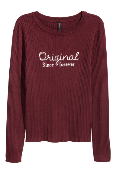 Ribbed top - Burgundy - Ladies | H&M