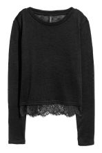 Fine-knit Lace-trimmed Sweater - Black - Ladies | H&M CA 2