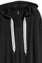 Ribbed hooded cardigan - Black - Ladies | H&M 3