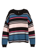 Ribbed jumper - Pink/Black striped - Ladies | H&M CN 2