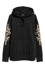 Hooded top with embroidery - Black/Gold-coloured - Men | H&M 2