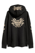 Hooded top with embroidery - Black/Gold-coloured - Men | H&M 3