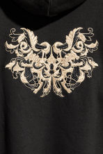 Hooded top with embroidery - Black/Gold-coloured - Men | H&M 4