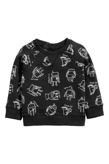 Sweatshirt with Printed Design - Black/robot - Kids | H&M CA