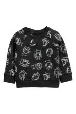 Printed sweatshirt - Black/Robot - Kids | H&M CN 1