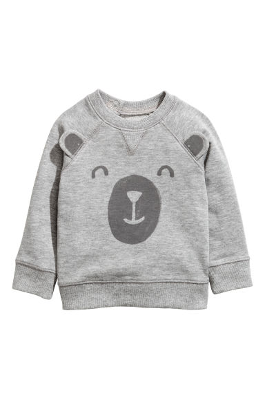 Printed sweatshirt - Grey/Bear - Kids | H&M CN 1