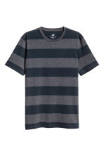 Round-neck T-shirt Regular fit - Dark blue/Striped - Men | H&M CN 2
