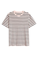 Round-neck T-shirt Regular fit - Light beige/Striped - Men | H&M IE 2