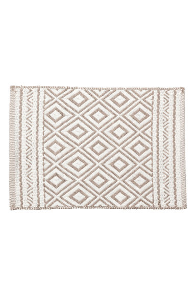 Jacquardgeweven badmat - Wit/Taupe - HOME | H&M BE 1