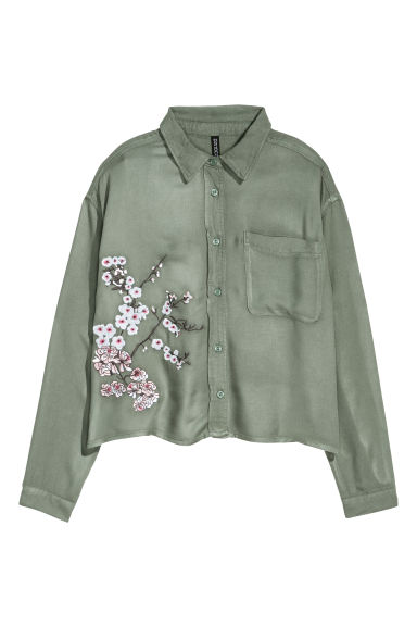 Long-sleeved shirt - Khaki green -  | H&M GB