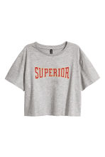 Cropped T-shirt - Grey marl - Ladies | H&M CN 2