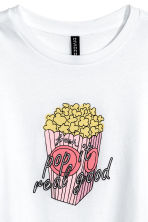 Cropped T-shirt - White/Popcorn - Ladies | H&M 3