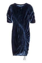 Crushed velvet dress - Dark blue - Ladies | H&M CN 2