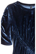 Crushed velvet dress - Dark blue - Ladies | H&M CN 3