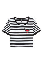 Cropped T-shirt - Black/White/Striped - Ladies | H&M CN 2