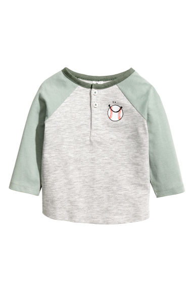 Long-sleeved T-shirt - Grey marl - Kids | H&M 1