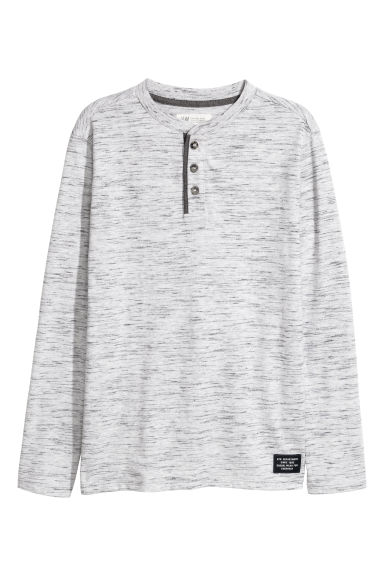 T-shirt à col tunisien - Gris chiné -  | H&M BE