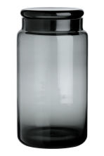 Large glass jar with a lid - Anthracite grey - Home All | H&M CN 1