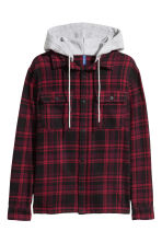 Hooded flannel shirt - Dark red/Black checked - Men | H&M GB 2
