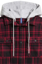 Hooded flannel shirt - Dark red/Black checked - Men | H&M GB 3