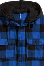 Hooded flannel shirt - Bright blue/Black checked - Men | H&M 3