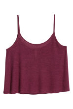 Ribbed strappy top - Burgundy marl - Ladies | H&M 1