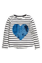 Long-sleeved top - White/Heart -  | H&M 2