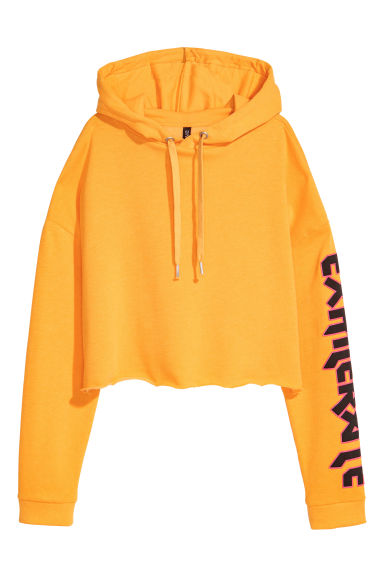Cropped hooded top - Yellow - Ladies | H&M