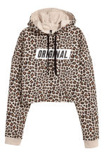 Cropped hooded top - Beige/Leopard print - Ladies | H&M 2