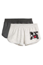 2-pack pyjama shorts - Grey/Mickey Mouse - Ladies | H&M 2