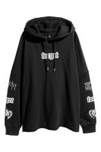 Printed hooded top - Black - Ladies | H&M CN 2