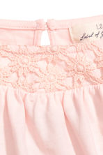 Jersey top with lace - Light pink - Kids | H&M CN 3