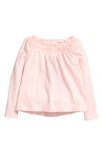 蕾絲平紋上衣 - Light pink - Kids | H&M 2