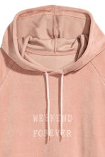 Velour Hooded Top - Powder pink - Ladies | H&M CA 3