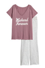 Pyjama top and bottoms - Grey/Plum - Ladies | H&M 2