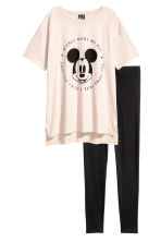 Pyjama top and leggings - Light beige/Mickey Mouse - Ladies | H&M 2