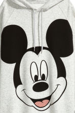 Long hooded top - Grey marl/Mickey Mouse - Ladies | H&M GB 3
