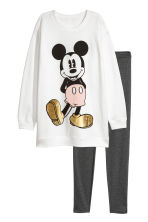 Lounge set top and leggings - White/Mickey Mouse - Ladies | H&M GB 2