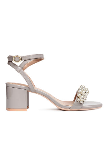 Patent sandals - Light grey - Ladies | H&M CA 1