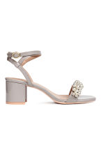 Patent sandals - Light grey - Ladies | H&M CN 1