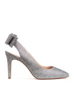 Glittery court shoes with bow - Black/Silver-coloured - Ladies | H&M 1